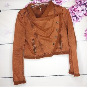 Free People   Rust Asymmetrical Crop Denim Jacket